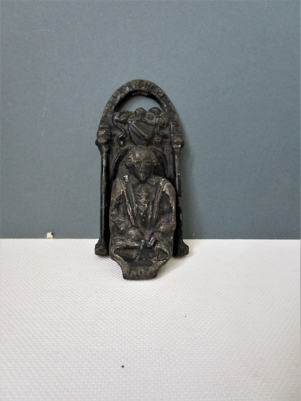 Antique Cast Iron Door Knocker Shakespeare Black Painted Metal