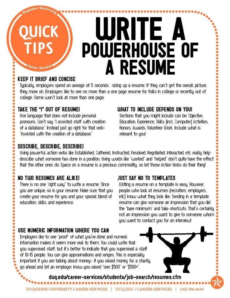 How to Write a PowerHouse Resume! Resume tips, Job