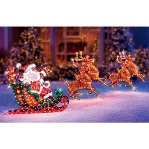 christmas outdoor decor holographic santa sleigh deer two