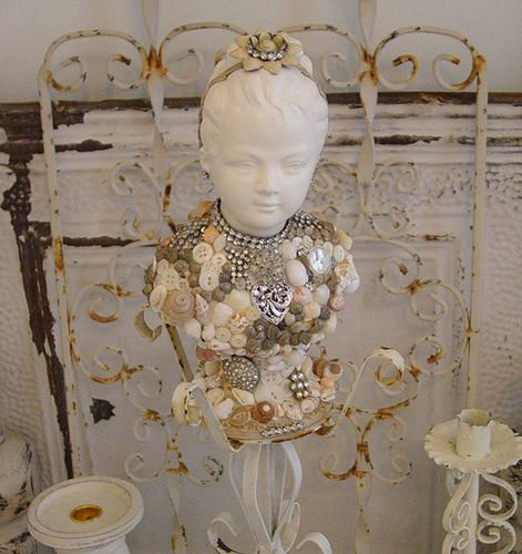 All White Bust Adorned with Shells, Jewels & other Finding!!   Flickr - Photo Sharing!