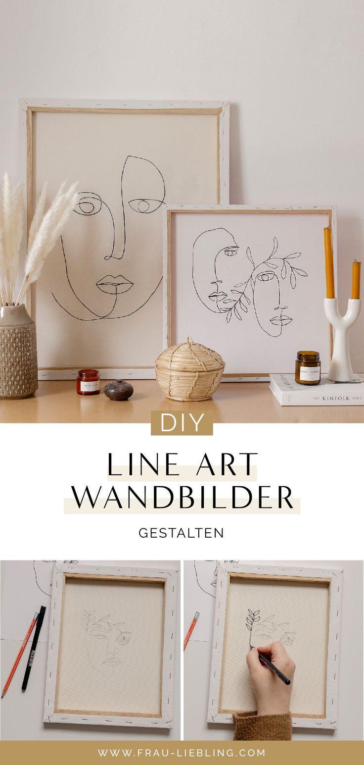 DIY WALL ART: LINE ART BILDER GESTALTEN – LEINWAND UPCYCLING