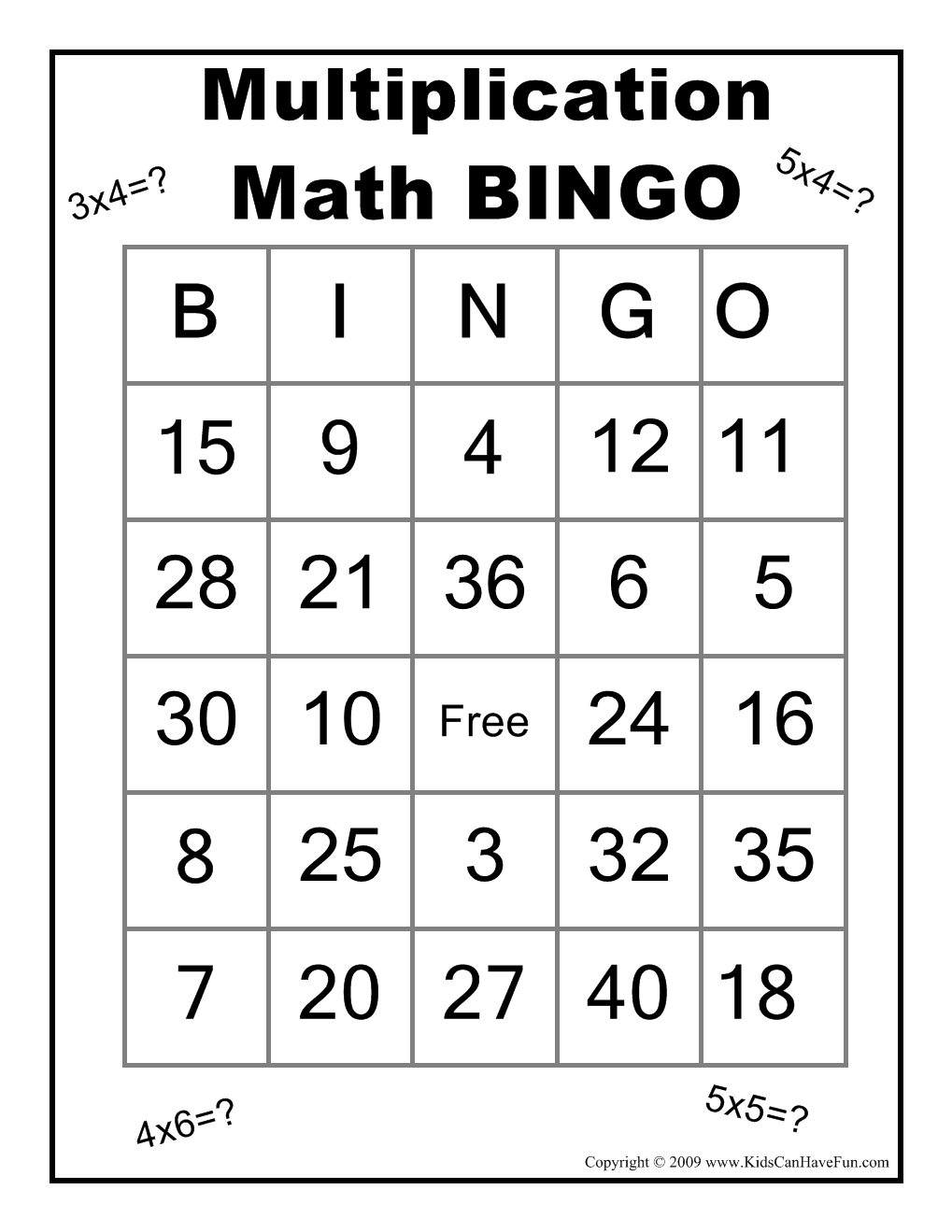 Multiplication Math BINGO Game http://www.kidscanhavefun.com/school ...