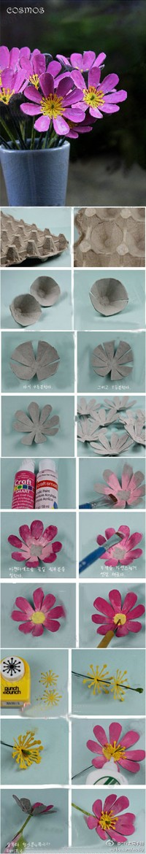 Reciclado De Cajas De Huevos De Cartón Manualidades Cartones De Huevos Flores De Caja De Huevos