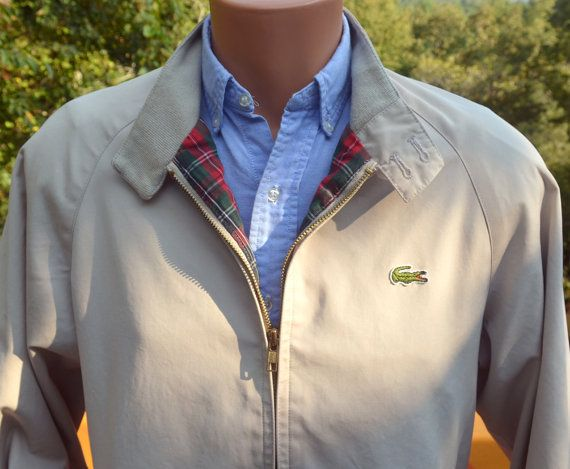 b98af99c905358 vintage 70's windbreaker LACOSTE izod harrington jacket beige khaki plaid  preppy Medium 80s