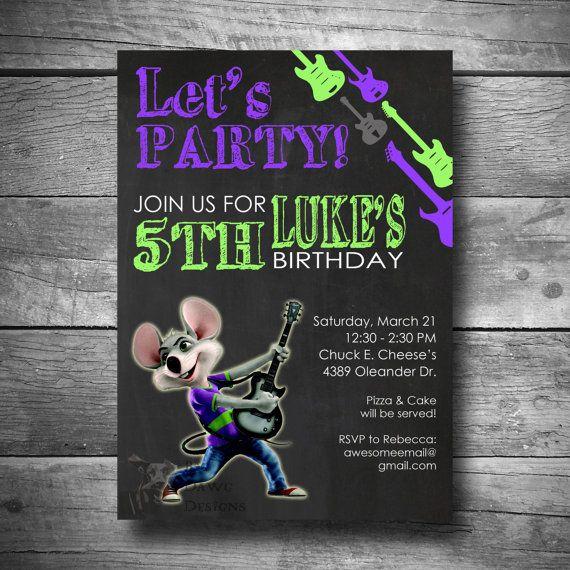 Chuck E Cheese Birthday Invitation Printable by BigDawgDesigns – Chuck E Cheese Birthday Invitation Wording