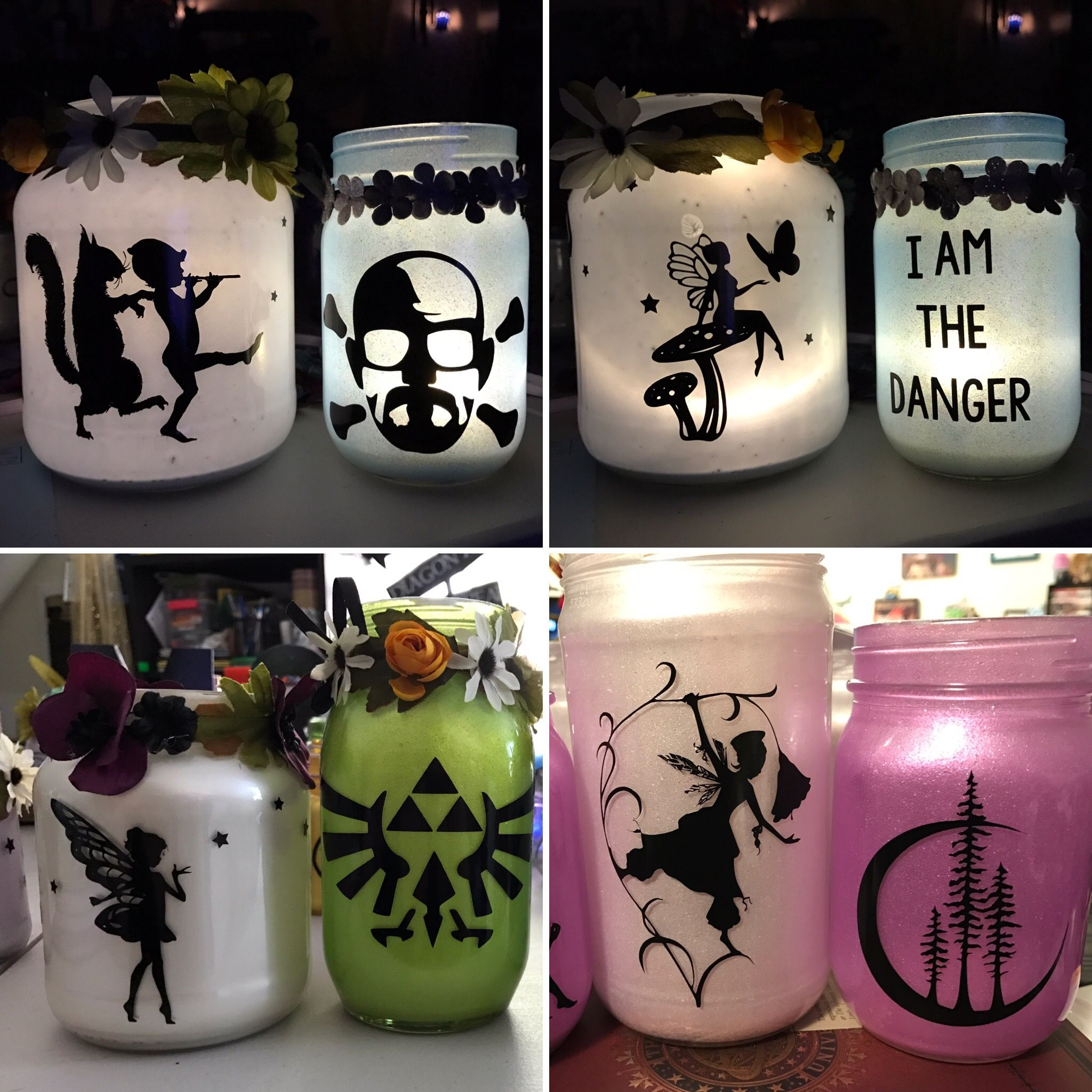 A few of my centerpieces in progress, made with my Cricut!