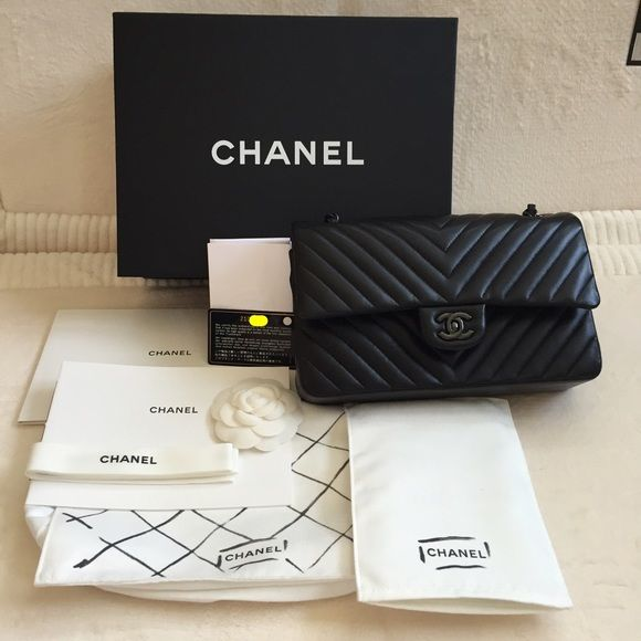 433e81a117b1 🚫SOLD🚫🎉HP🎉Chanel So Black Chevron Medium, NWOT 🎀💝Best in Bags ...