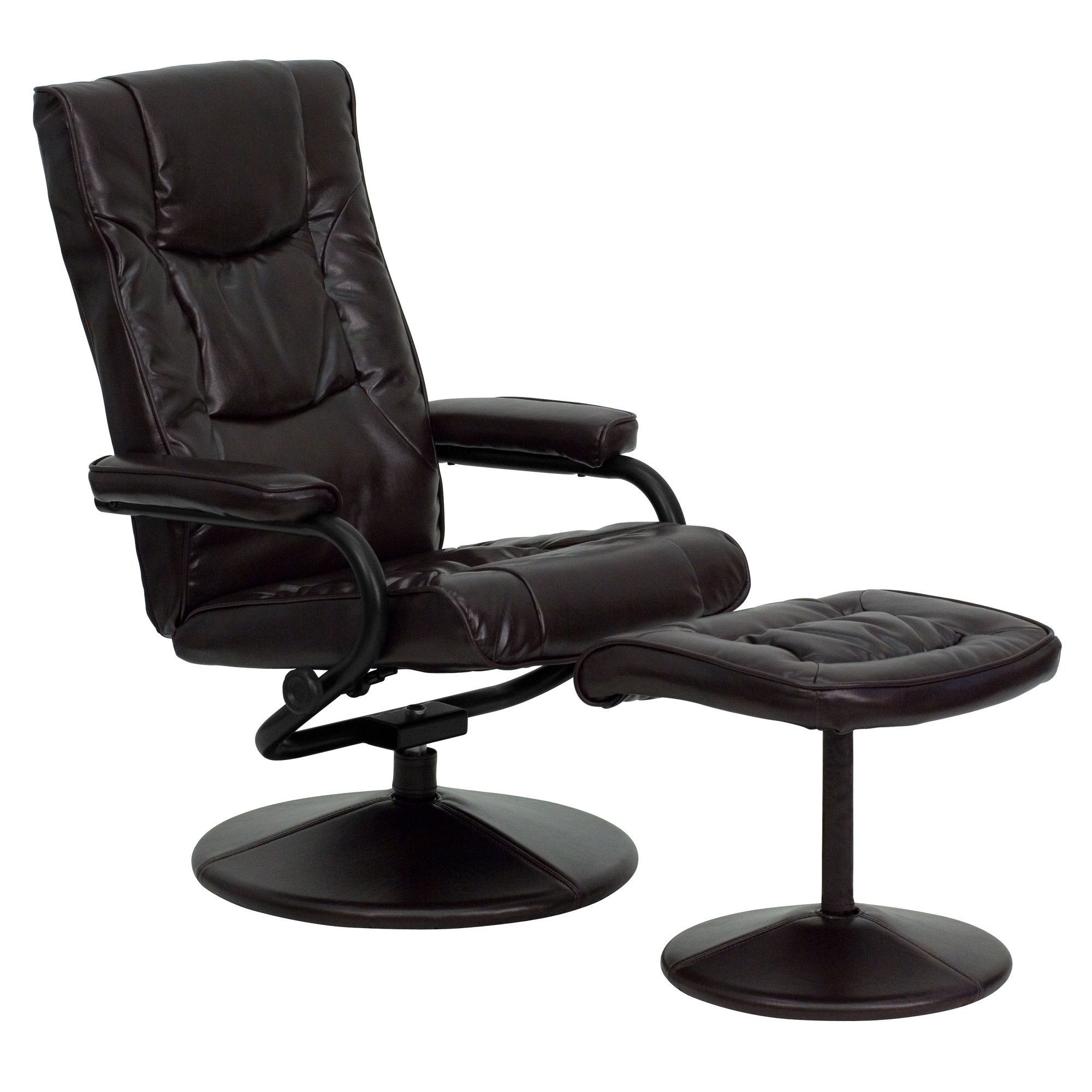 """20"""" Manual Swivel Recliner with Ottoman Brown leather"""