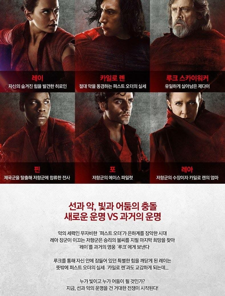 Star Wars The Last Jedi South Korean Character Poster And Description Last Jedi Star Wars Korean Characters