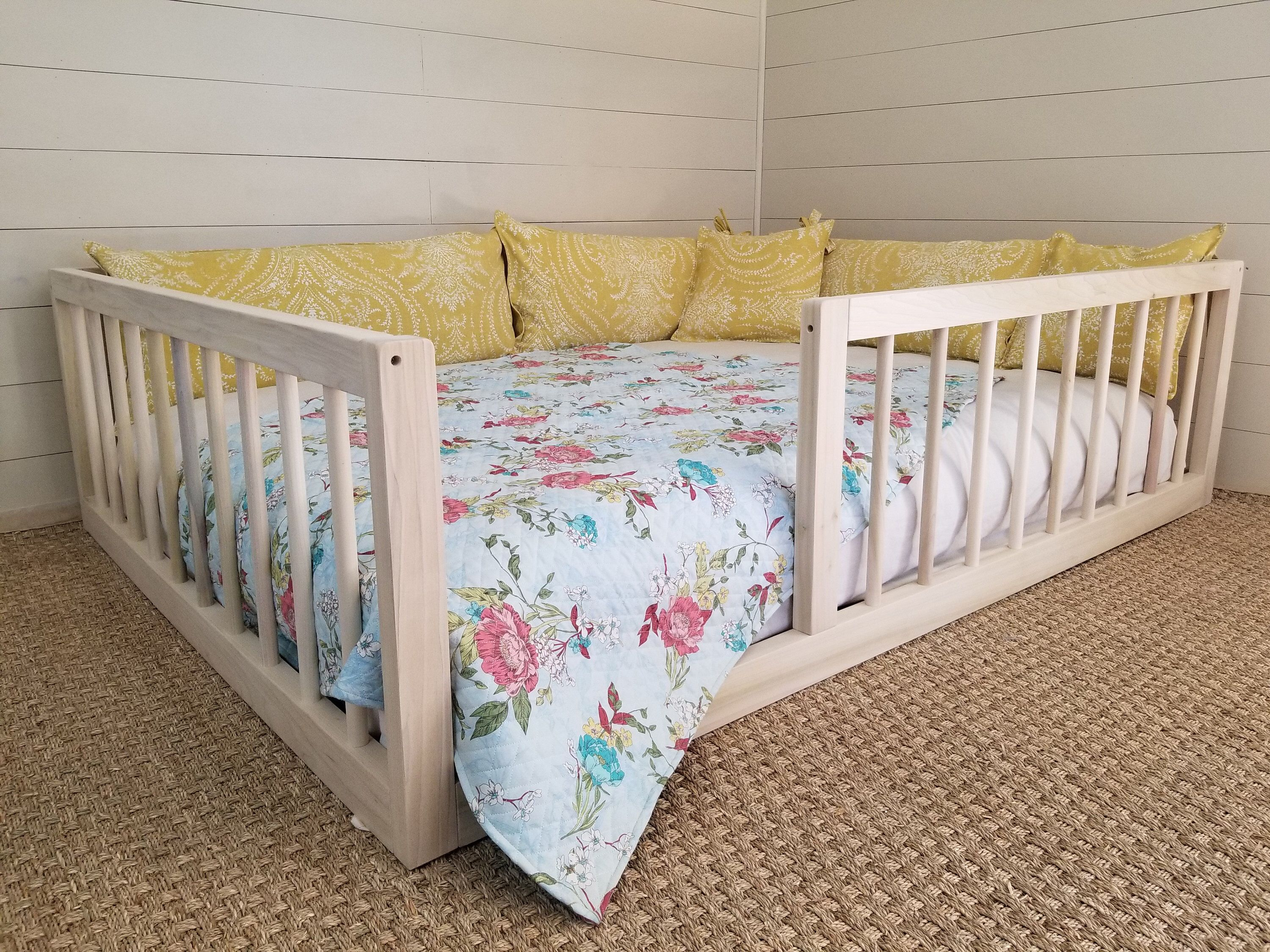 Montessori Floor Bed With Rails Full or Double Size Floor