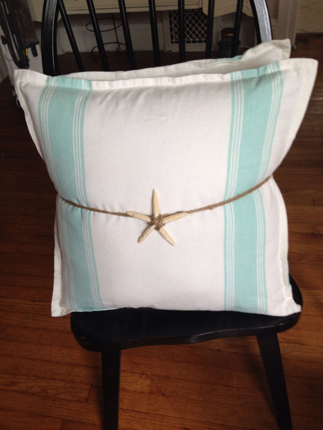Set of two seafoam green striped 20 x 20 coastal pillows by MadisonsCottage on Etsy