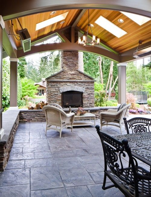 Patio With Skylights Fireplace And Is That An Outdoor Heater Hanging Above Concrete Patio Designs Patio Design Backyard Patio