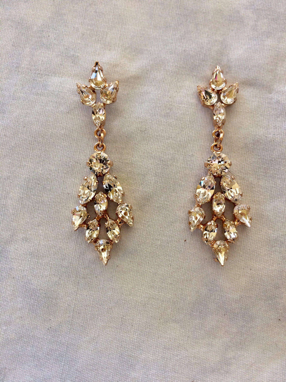 e4c914d9141d67 Rose Gold Chandelier Earrings, rose gold wedding earrings, Swarovski Crystal  bridal earrings, teardrop earrings, diamond dangle Earrings
