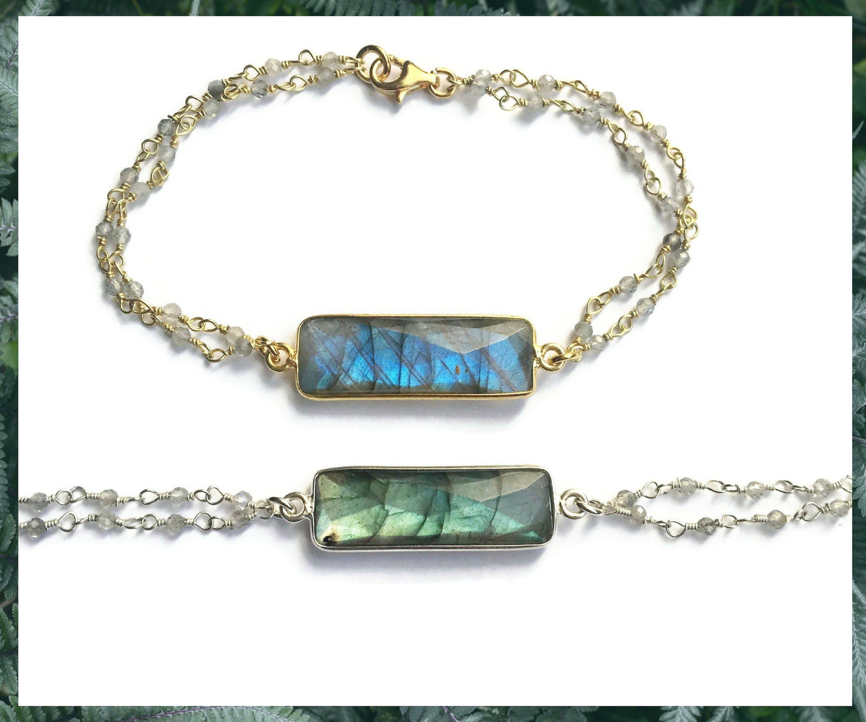nouveau concept 48a03 f030d Labradorite bracelet in sterling silver or gold - Gemstone ...