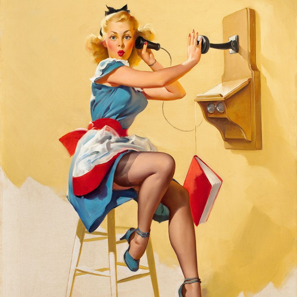 Telephone Pinup Girl Painting Art Ipad Wallpaper  Ipad -4540