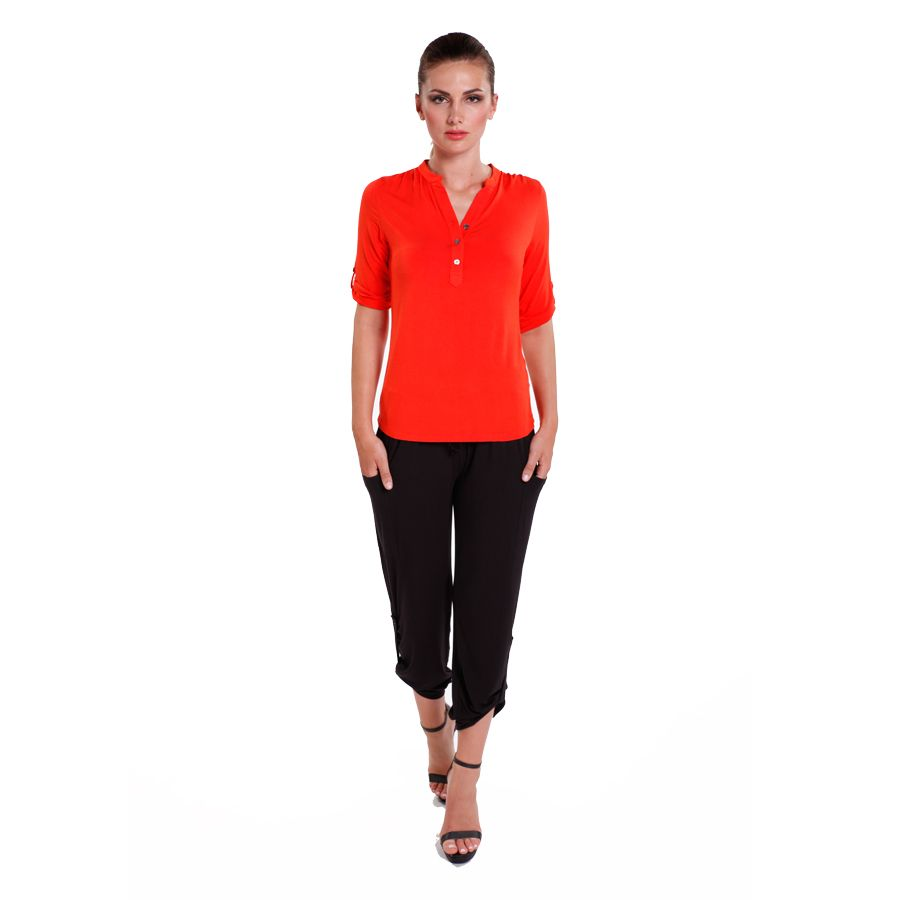 Bamboo Body Tab Sleeve Top:Tangerine Now at $55.00 #travelclothes #bambooclothes