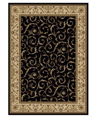 Closeout Roma Damask Black 3 Pc Rug Set Area Rug Sets Area