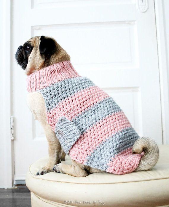 Custom Dog Sweater - Pug Sweater - Pug Jacket - Dog Clothing - Dog ...