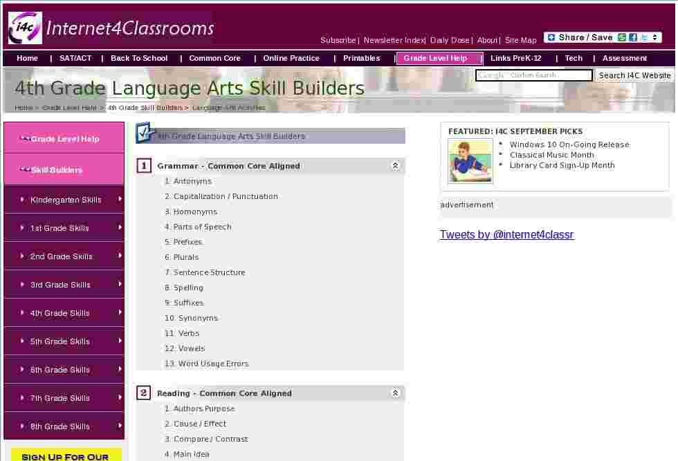 Interactive Language Arts Skill Builders for 4th Grade at I4C ...
