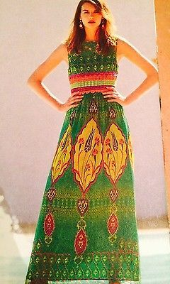 4f21dea7e17 NWOT Anthropologie Hemant and Nandita Mintzita Silk Print Maxi Dress Size 4
