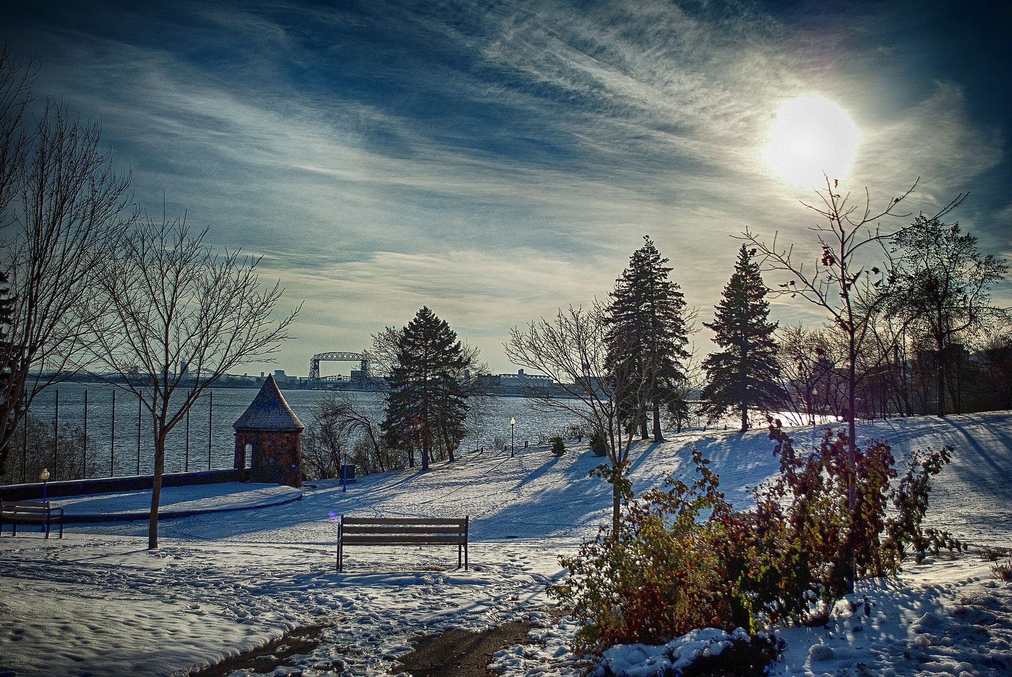 Leif erikson park in winter with images beautiful park