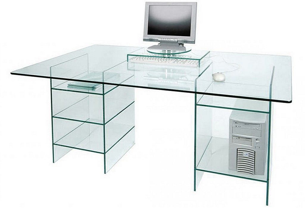 Glass Computer Desk With Shelves Design Computer Desk With
