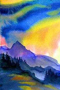 Watercolor Mountain Scene Landscape Art Colorful Art