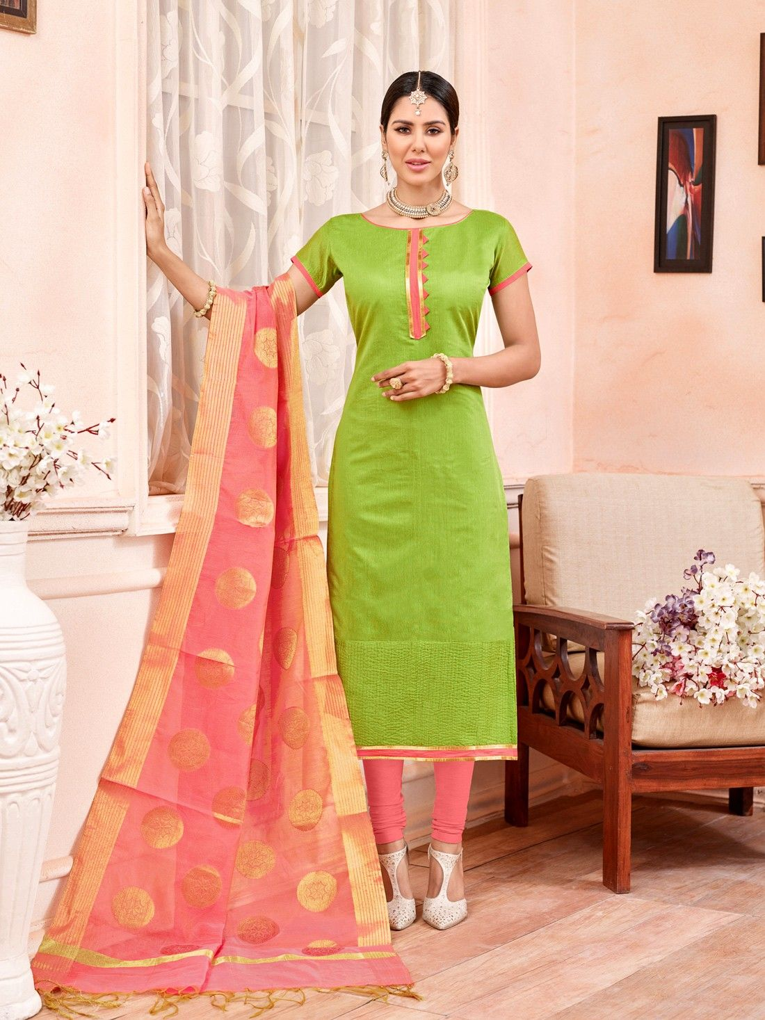 7cf61d131 light green chanderi cotton suit with pink banarasi jacquard suit ...