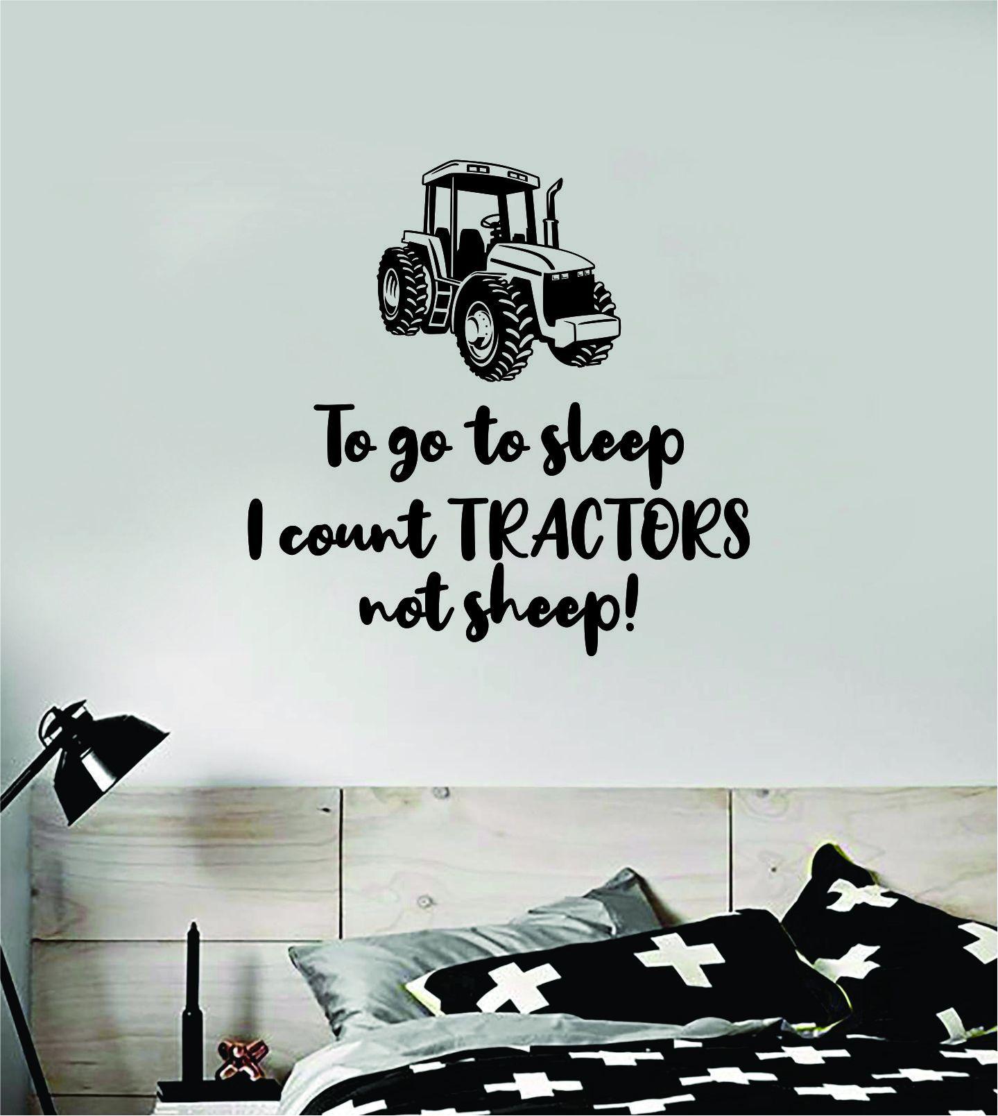 Sleep Tractors Sheep Wall Decal Sticker Vinyl Art Bedroom Room Decor Teen Quote Inspirational Baby Nursery Son Daughter Kids Farm - brown