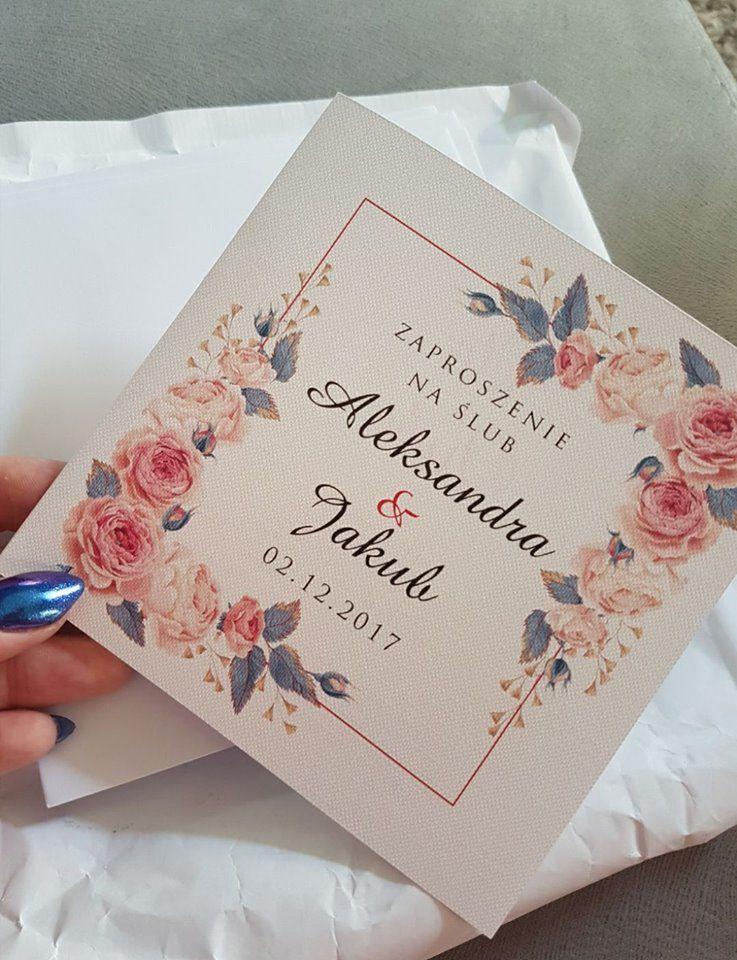 Kwiatowe Zaproszenia ślubne Pers Koperta Gratis Allegropl