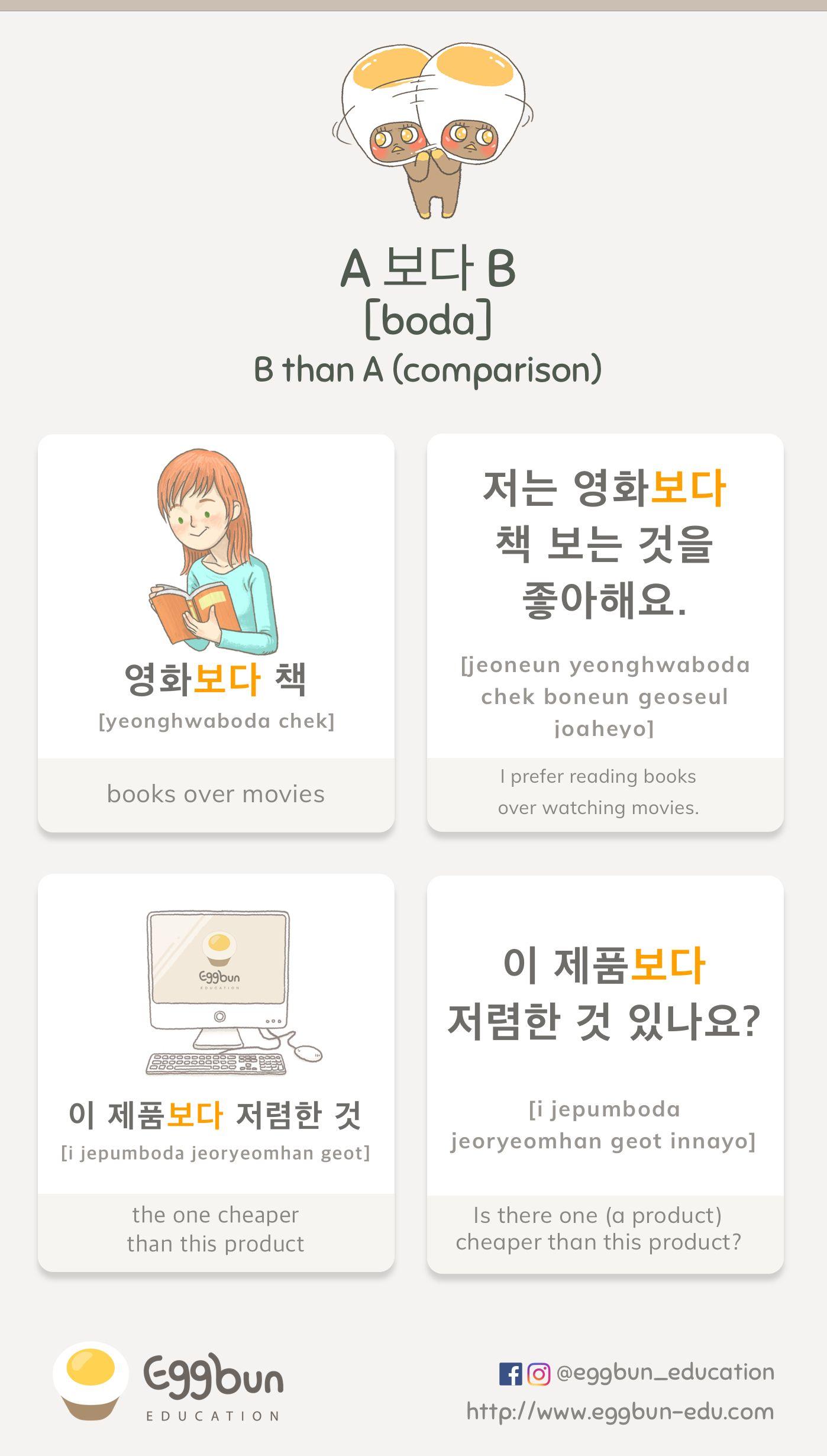 A 보다 B = B than A Chat to Learn Korean