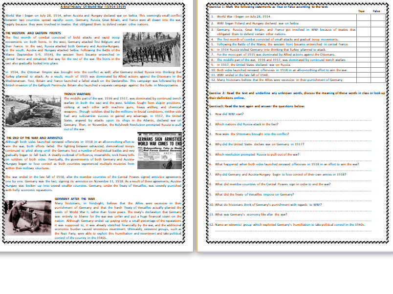A Brief History Of World War I Reading Comprehension Worksheet
