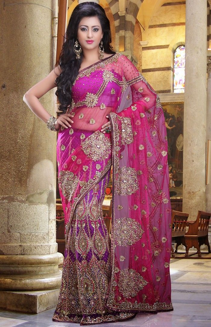 Magenta Net Heavy Embroidered Lehenga Style Saree Saree with Blouse ...