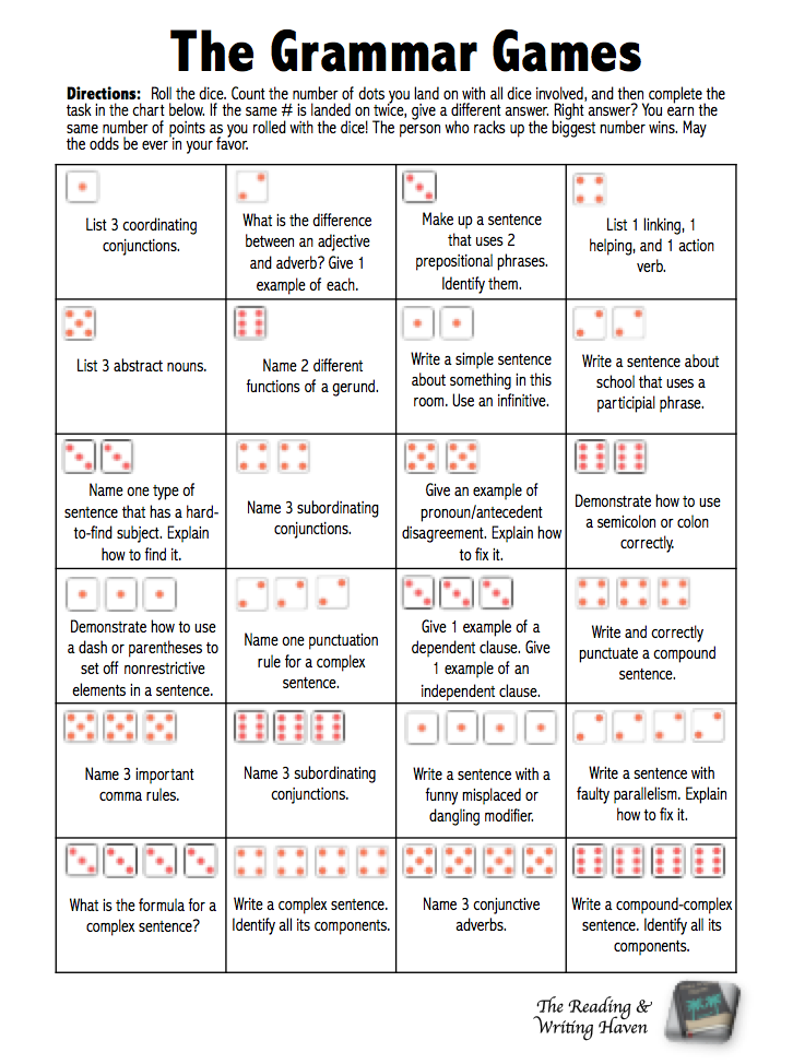 The Grammar Games Dice Review Game For Common Core
