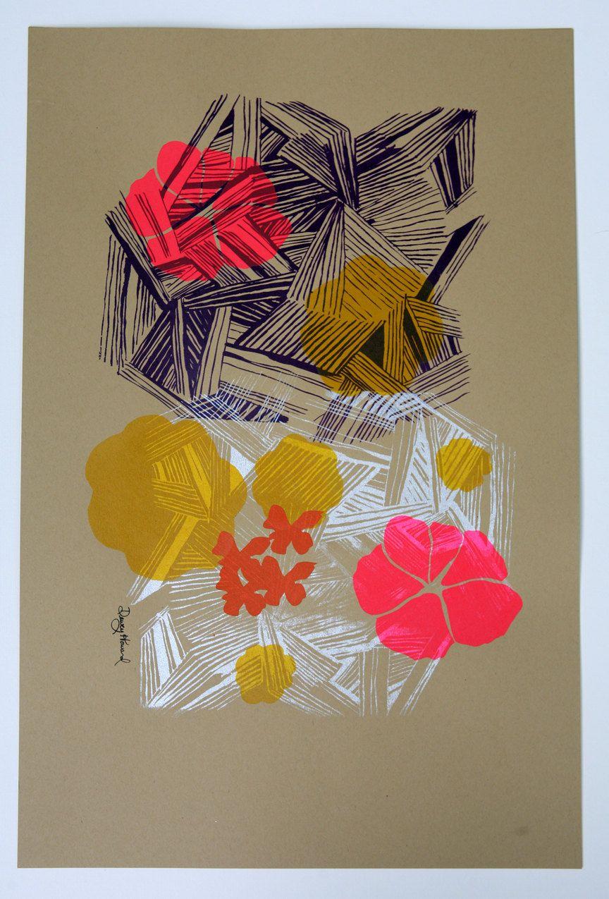 Original silk screened screen printing illustration