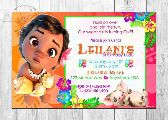 Baby Moana Birthday Invitation Hawaiian Island