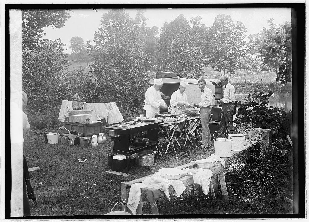 EDISON, FORD, FIRESTONE AND PRESIDENT HARDING GO CAMPING, JULY 1921