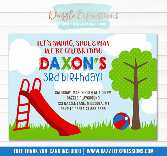Printable playground birthday invitation party in the park printable playground birthday invitation party in the park invitation slide on over swing filmwisefo Gallery