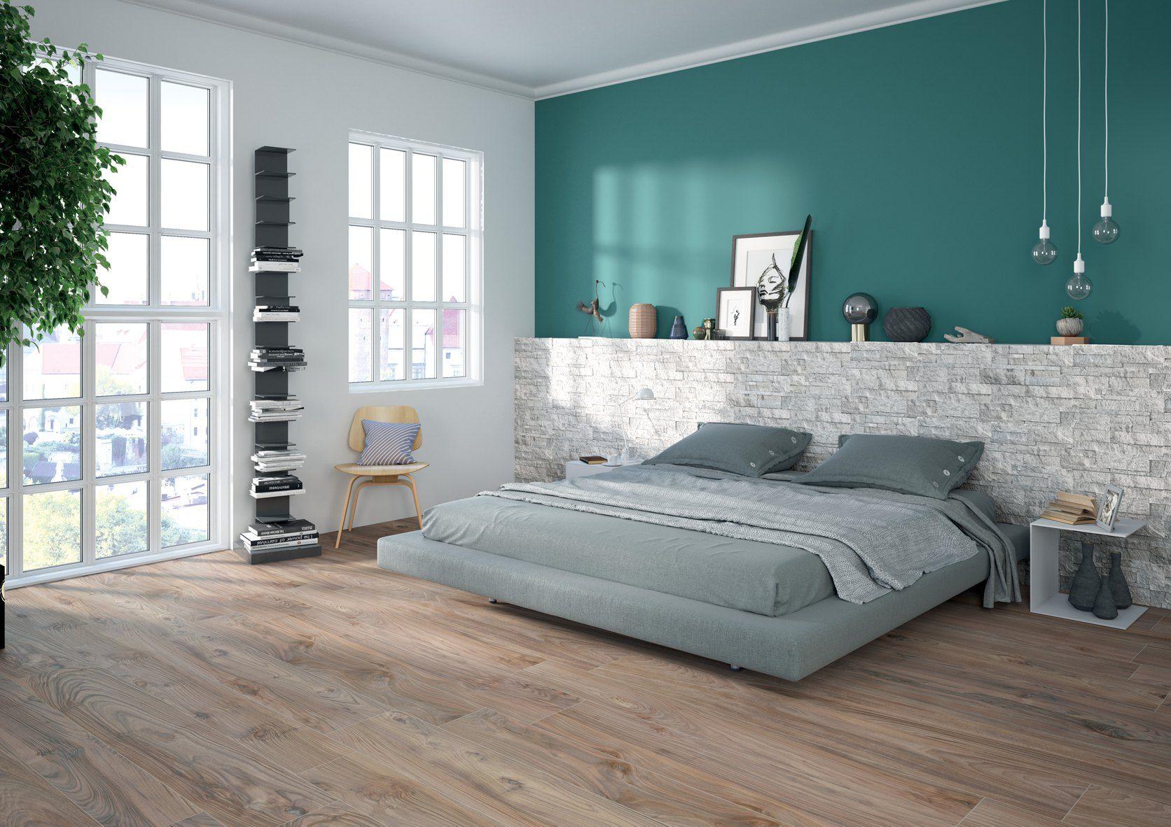 Camera da letto dallo stile nordico e minimale, gres effetto legno a ...