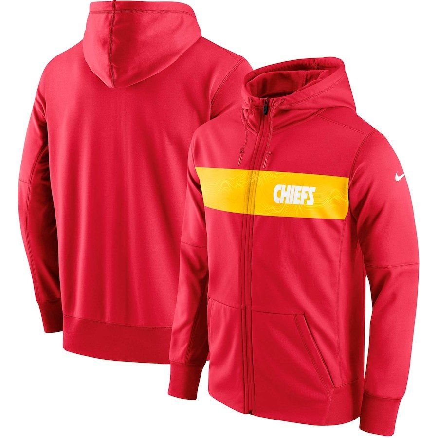 7c4094c9891c Men s Kansas City Chiefs Nike Red Team Sideline Full-Zip Performance Hoodie