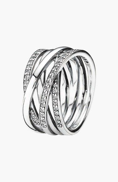 7017159c8 Free shipping and returns on PANDORA 'Entwined' Stack Ring at  Nordstrom.com. Stacked, crisscrossing bands of polished sterling silver  give gorgeous ...