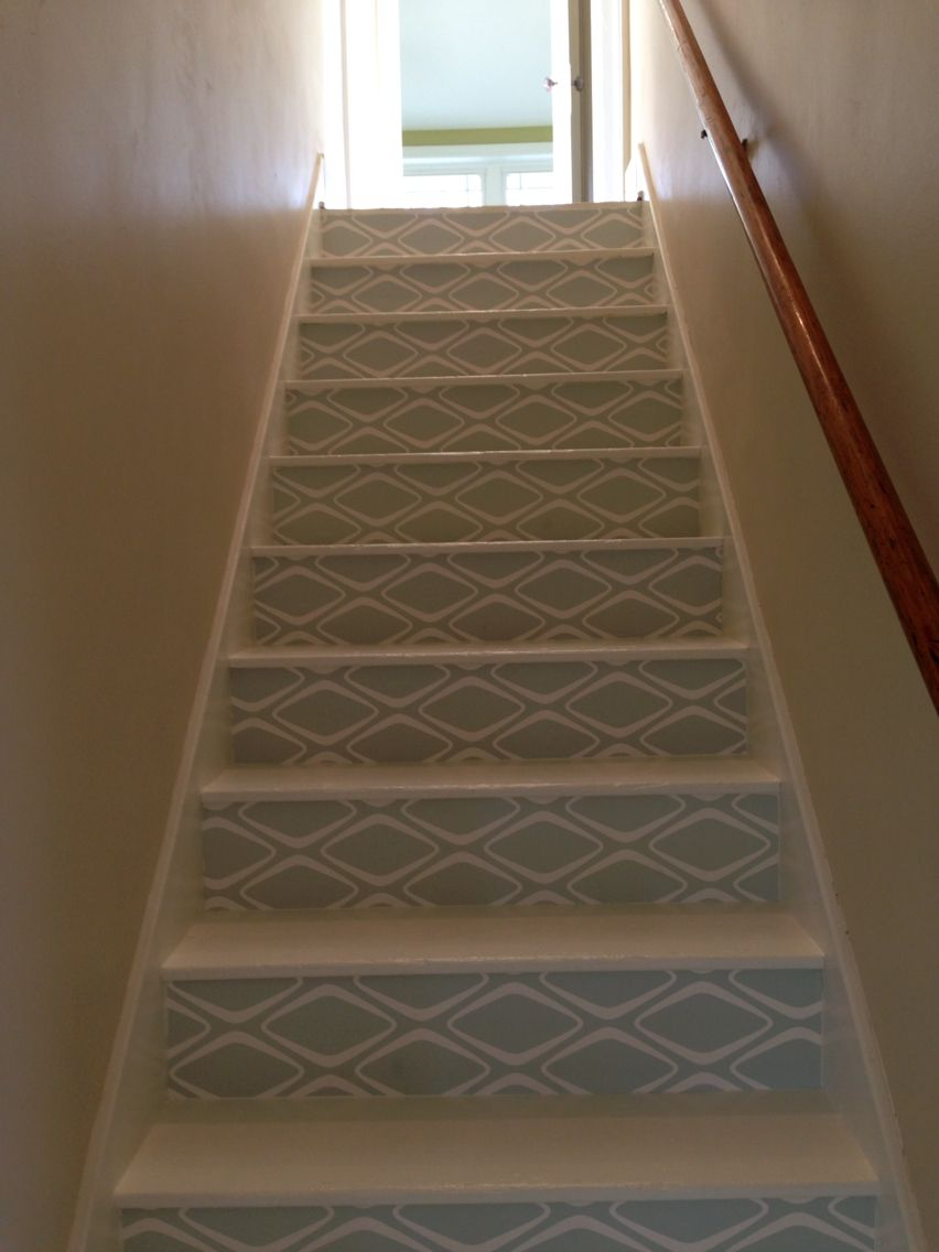 I Had To Spruce Up The Stairs Just A Little Contact Paper Is All It Needed Stair Decor Home Decor Stairs