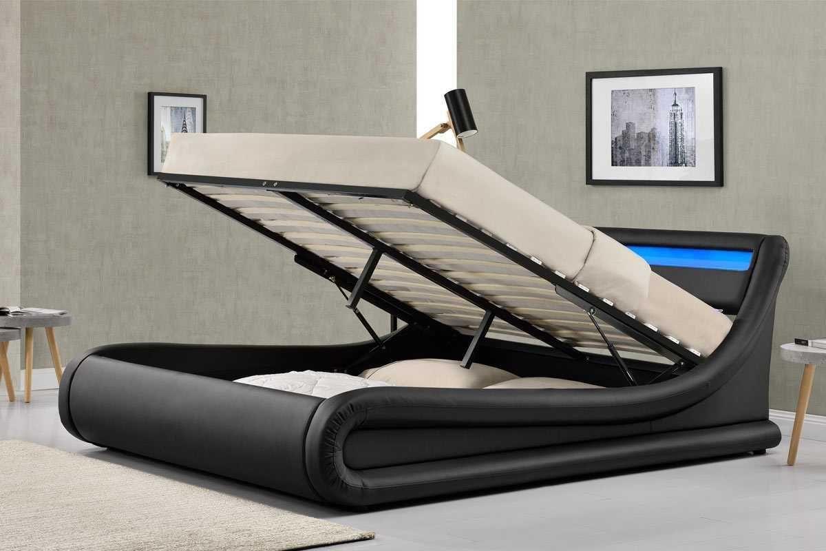 Madrid LED Lights Black Ottoman Storage Bed Frame- Single / Double ...
