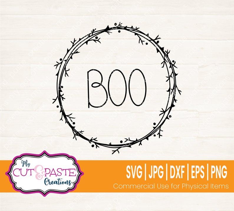 Halloween Wreath Svg Halloween Svg Files Halloween Boo Svg Etsy In 2020 Halloween Boo Svg Halloween Wreath