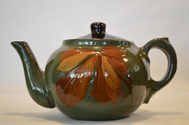 Gorgeous Redware Teapot ~ Hand Painted with Autumn Leaves ~ unmarked from timberhillsantiques on Ruby Lane