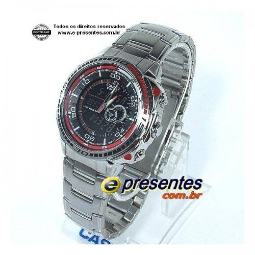 b169f140c51 EFA-121D-1AV Relógio Casio EDIFICE Analógico Digital com Termômetro ...