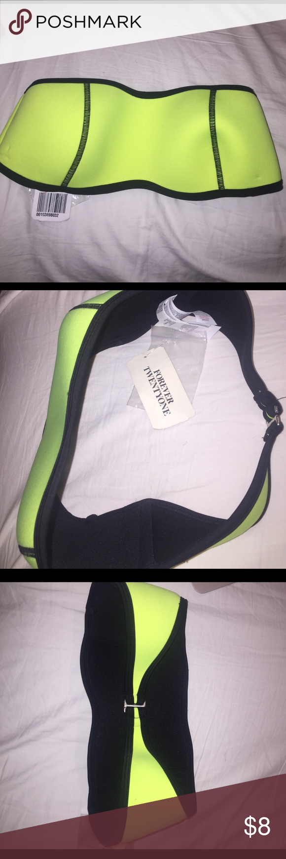 NWT F21 Bandeau bikini top Brand new, never worn. Tags still attached, size Small. Tiny mark on right side as pictured but hardly noticeable at all! Forever 21 Swim Bikinis