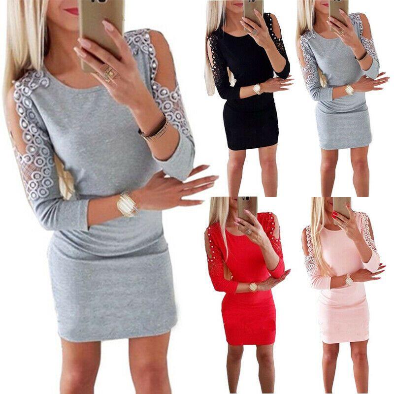 Damen Bodycon Schulterfrei kleider Pullover Party Abendkleid Minikleid Baumwolle