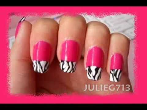 Zebra and hot pink nails