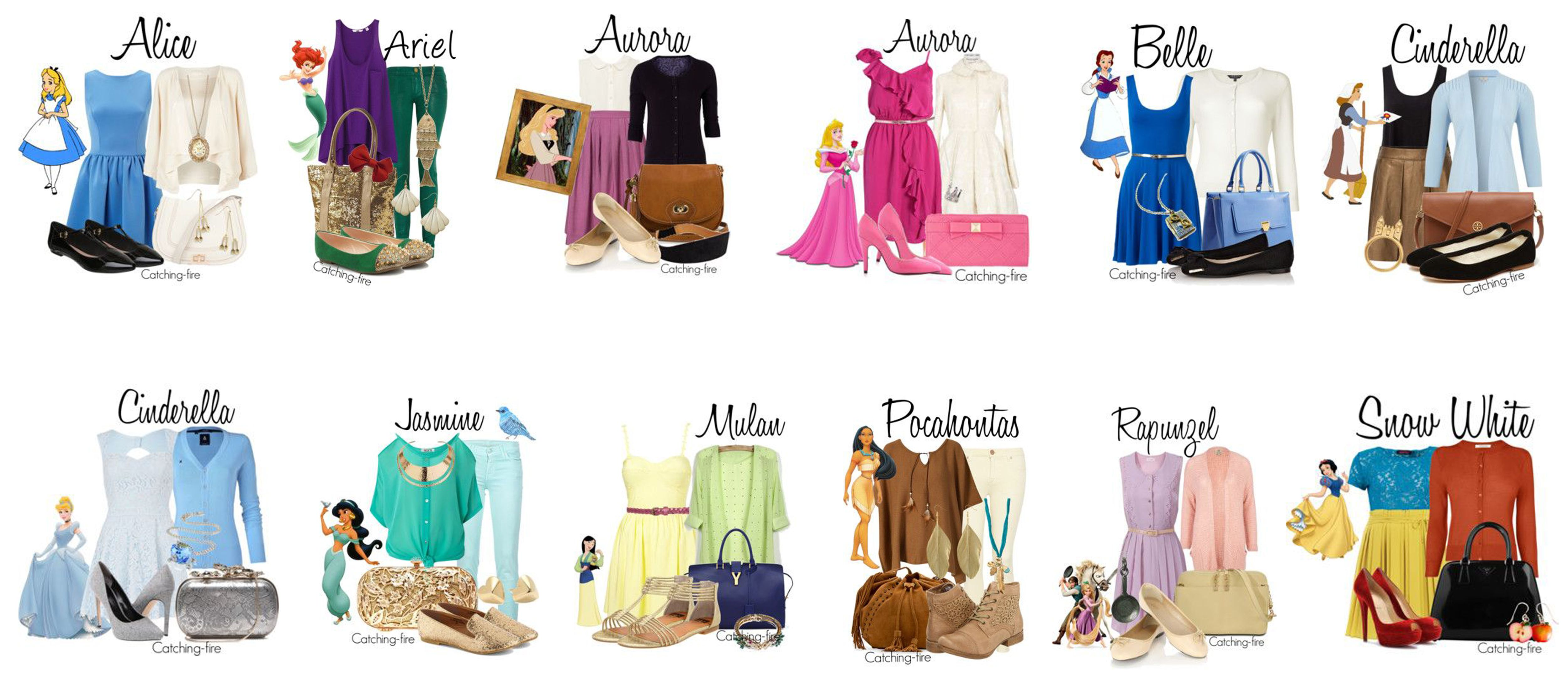 The #Disney Princesses' #Modern #Fashion by Catching-Fire. #Clothes